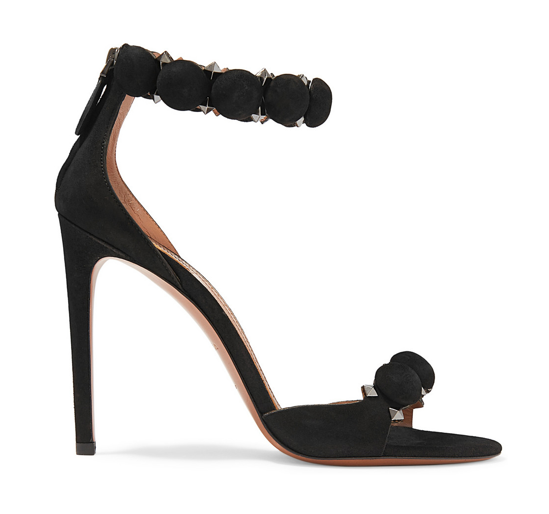 alaia black studded suede sandals