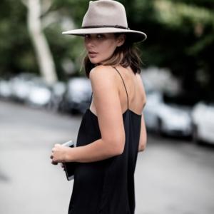black slip dress street style outfit
