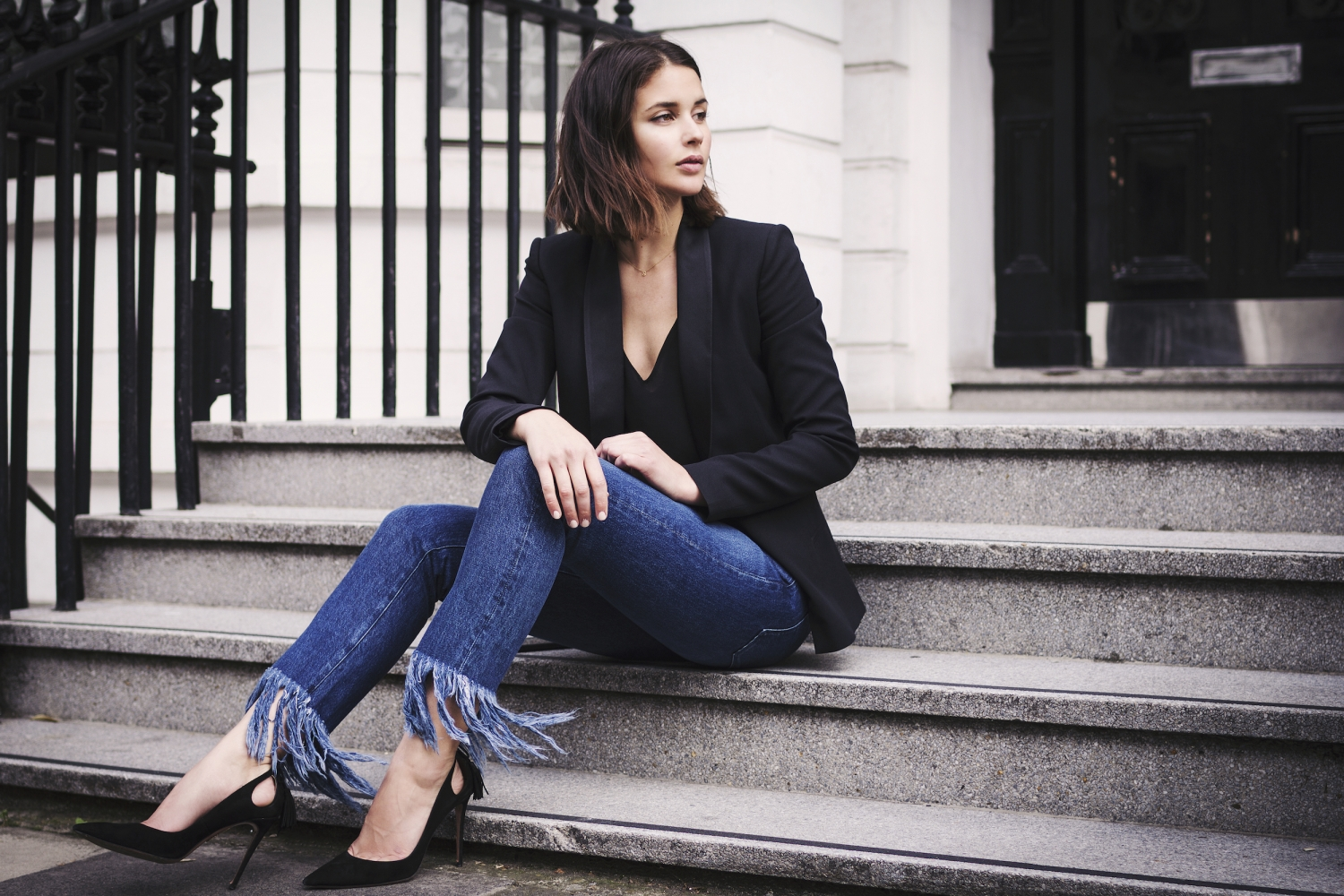 fringe denim jeans and black blazer