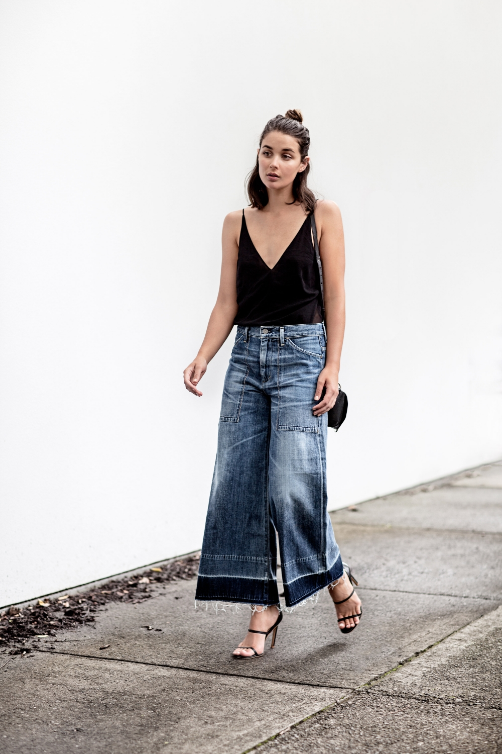 black cami and wide leg cropped jeans + street style + outfit