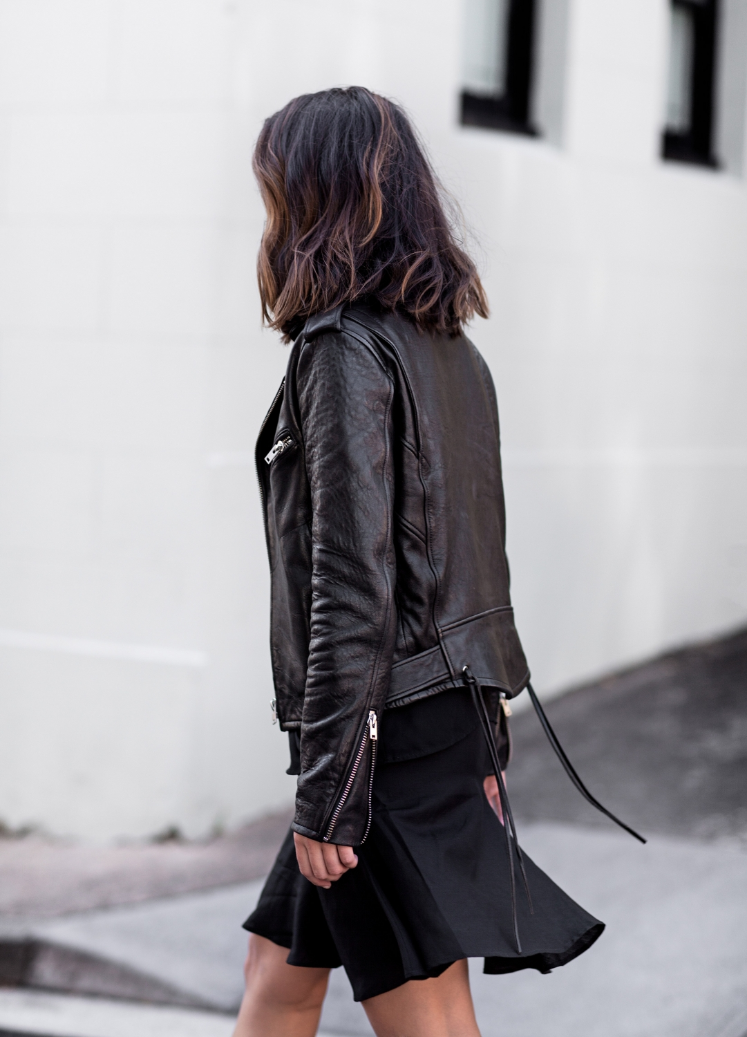 leather jacket leather skirt outfit style