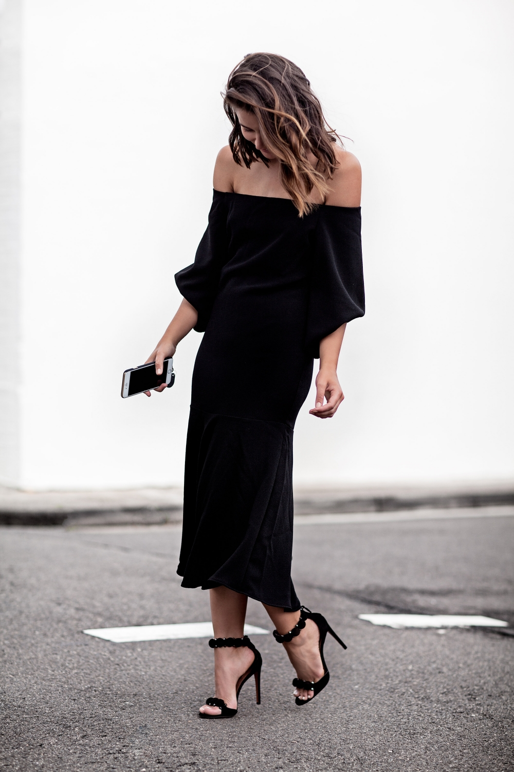 off the shoulder black dress | outfit | style | HarperandHarley