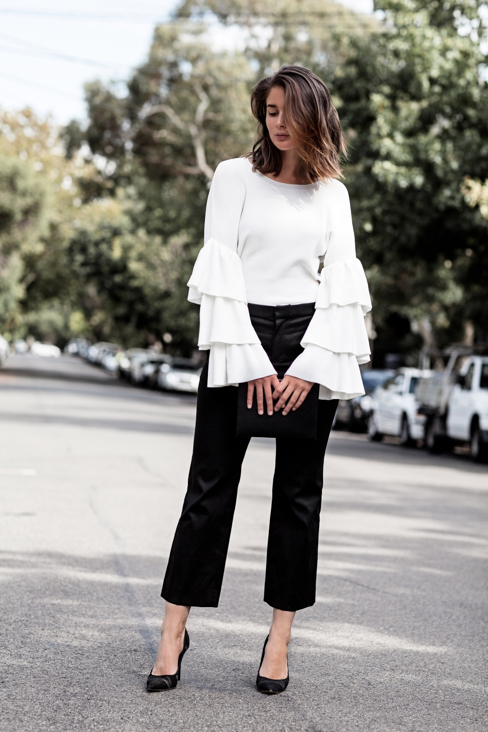white ruffle sleeves