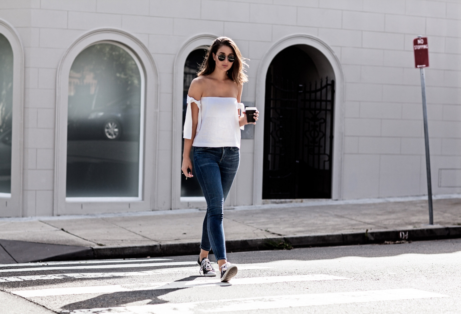 off the shoulder top with jeans | style | outfit | HarperandHarley
