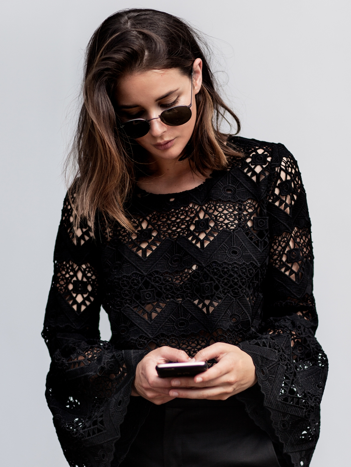 black lace top | street style | outfit | Harper and Harley