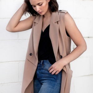 camel sleeveless coat | denim | street style | Harper and Harley