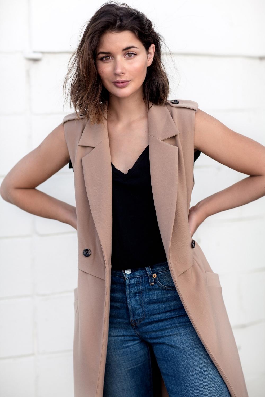 camel sleeveless coat | denim | street style | Harper and Harley