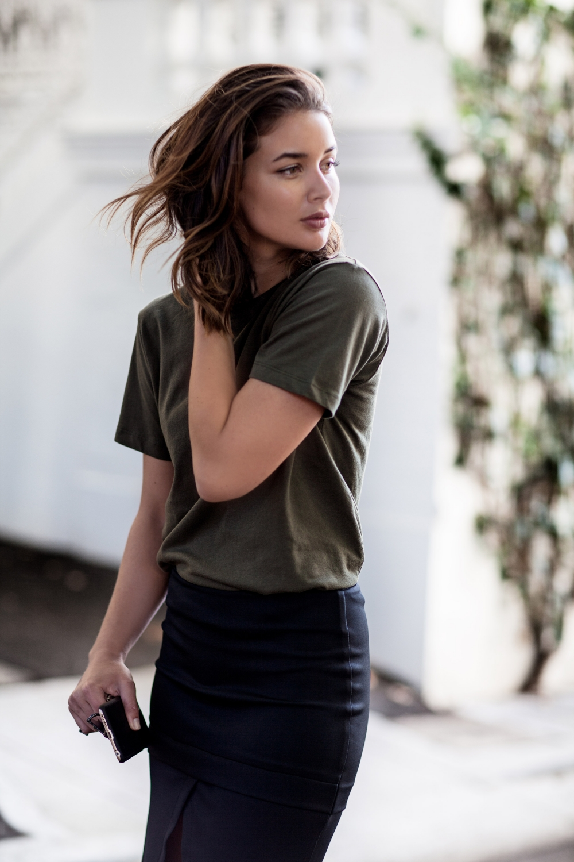khaki t-shirt and black skirt