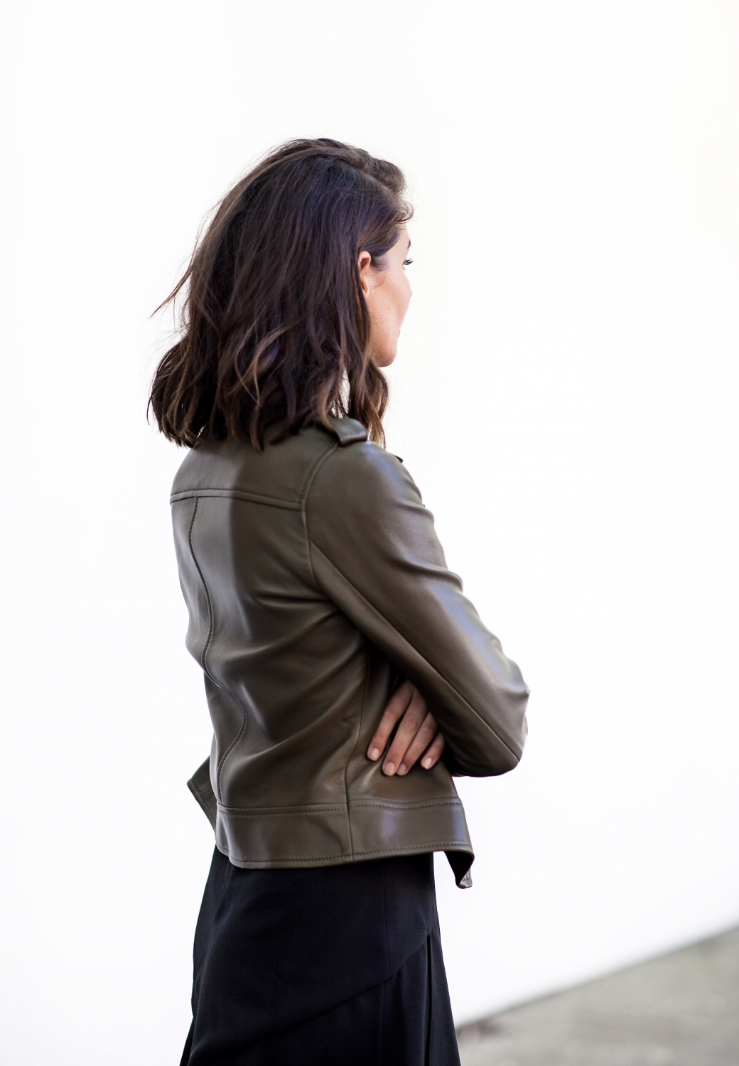 khaki leather jacket | style | outfit | HarperandHarley