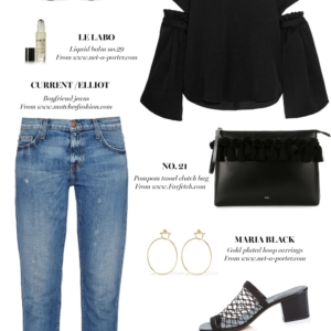 ellery top, current elliot jeans, chloe heels