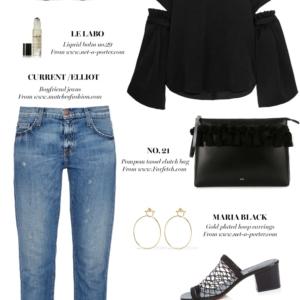 ellery top, current elliot jeans, chloe heels