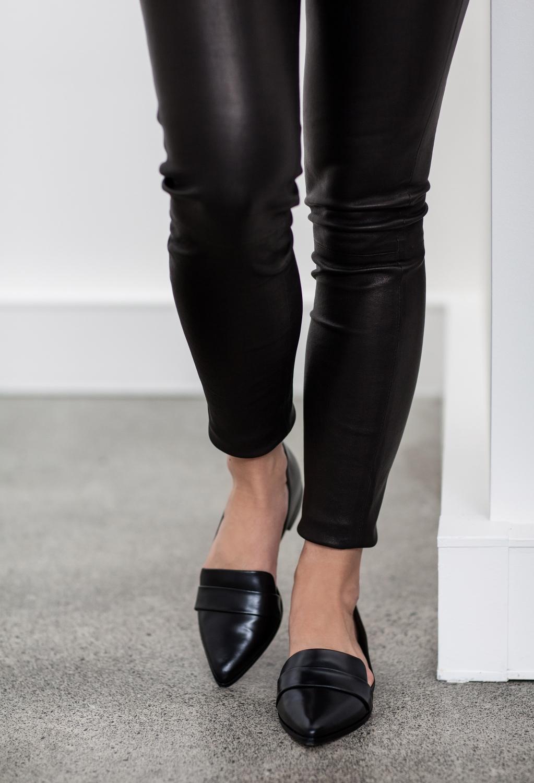 black leather pants | Navy Jacket | Outfit | Style | HarperandHarley