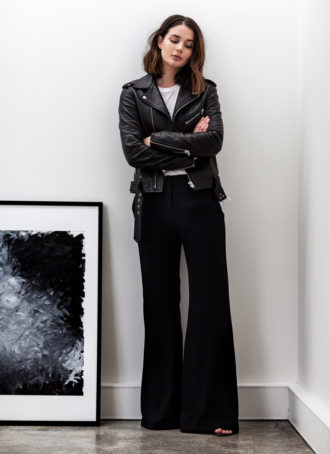 black leather jacket | wide leg pants | Style | Outfits | Harper and Harley