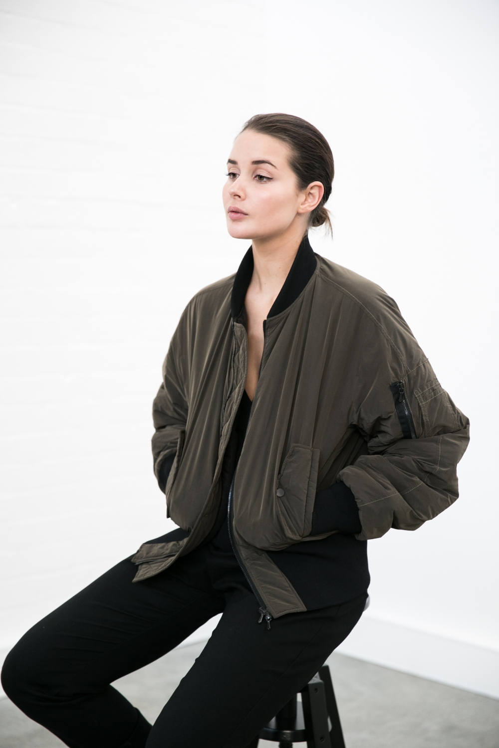 khaki bomber | black pants | dion lee | Harper and Harley | The Undone | Effortless | Off Duty | Fashion Week | Outfit | Style