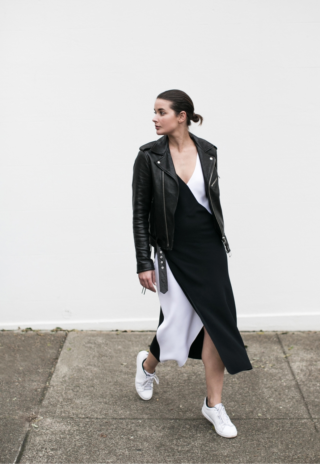 tome dress, black and white, outfit, style, leather jacket, harperandharley