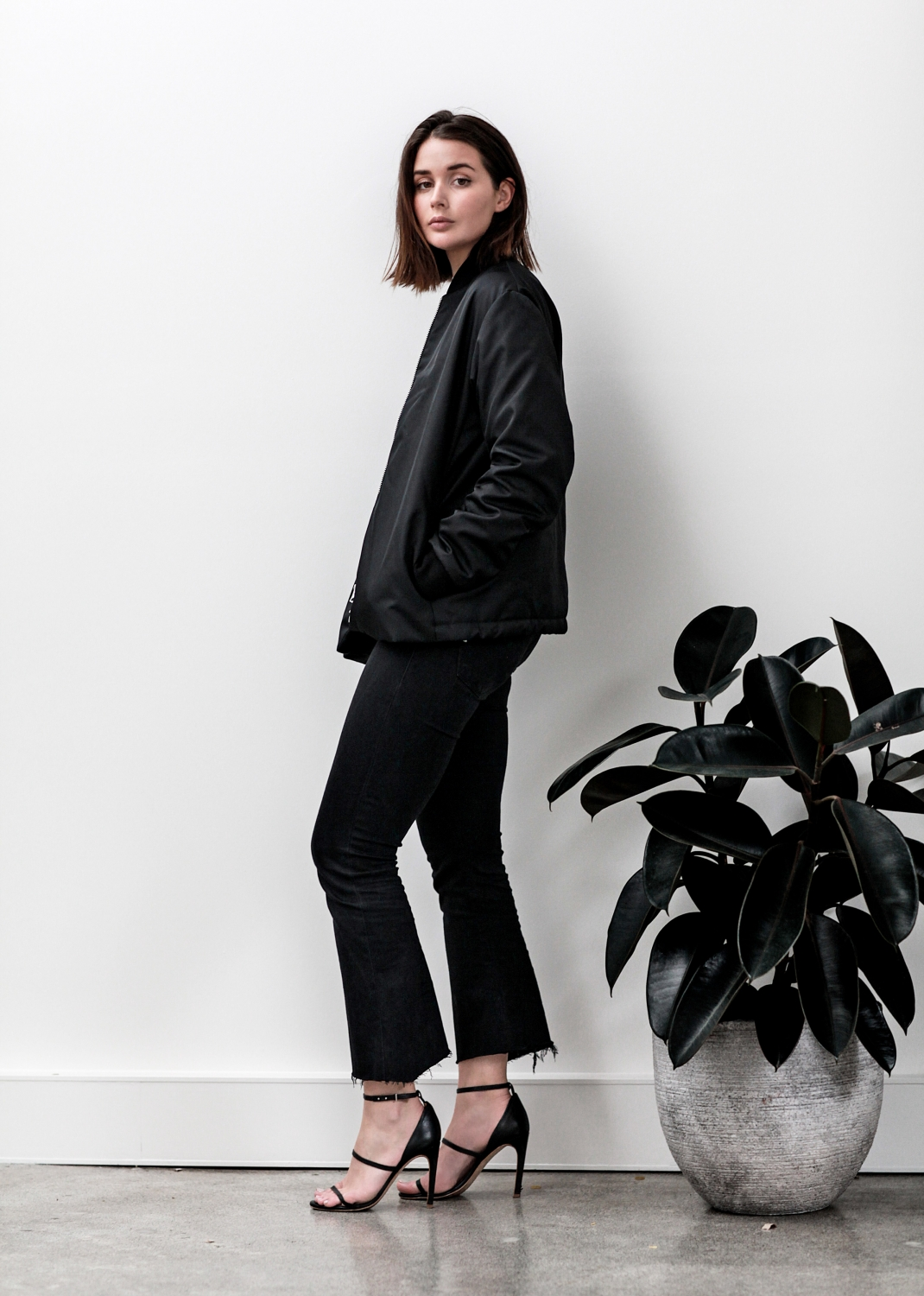 black acne bomber jacket | cropped denim jeans | outfit | style | HarperandHarley