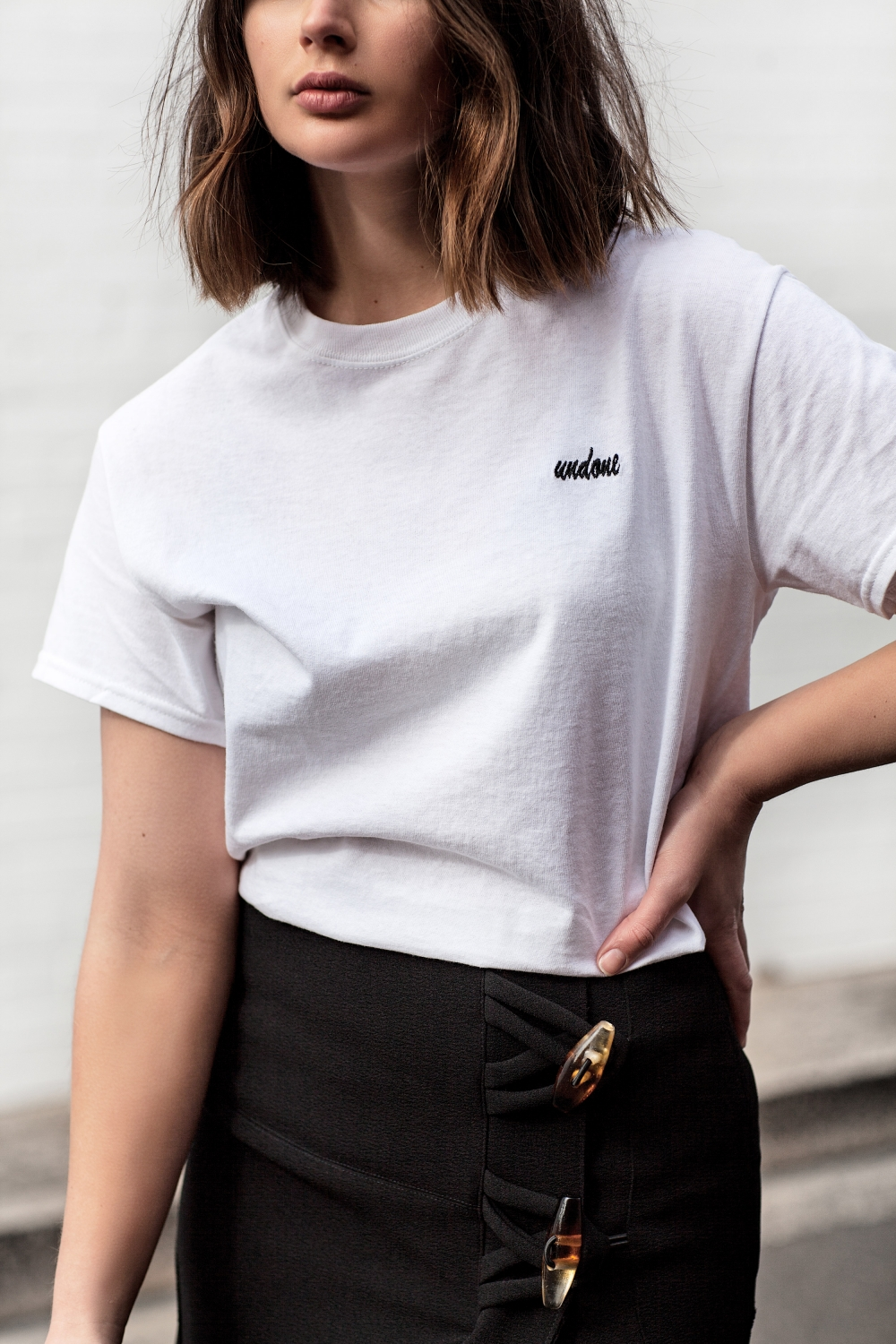 Double Trouble t-shirt and Christopher Esber skirt | The UNDONE online store | Outfit | Style | Streetstyle | HarperandHarley
