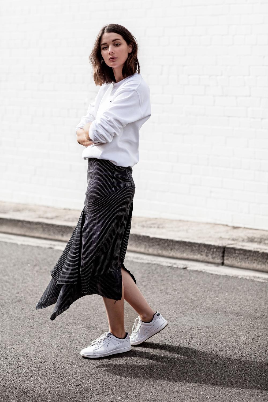 Jumper   striped skirt   outfit   street style   HarperandHarley