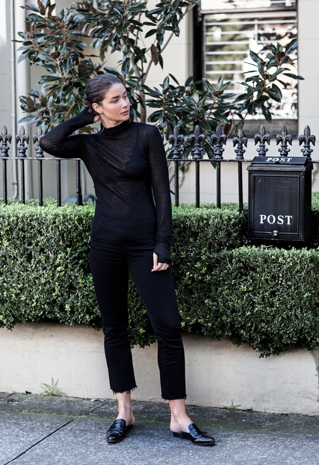 all black outfit | sheer | style | dion lee | HarperandHarley