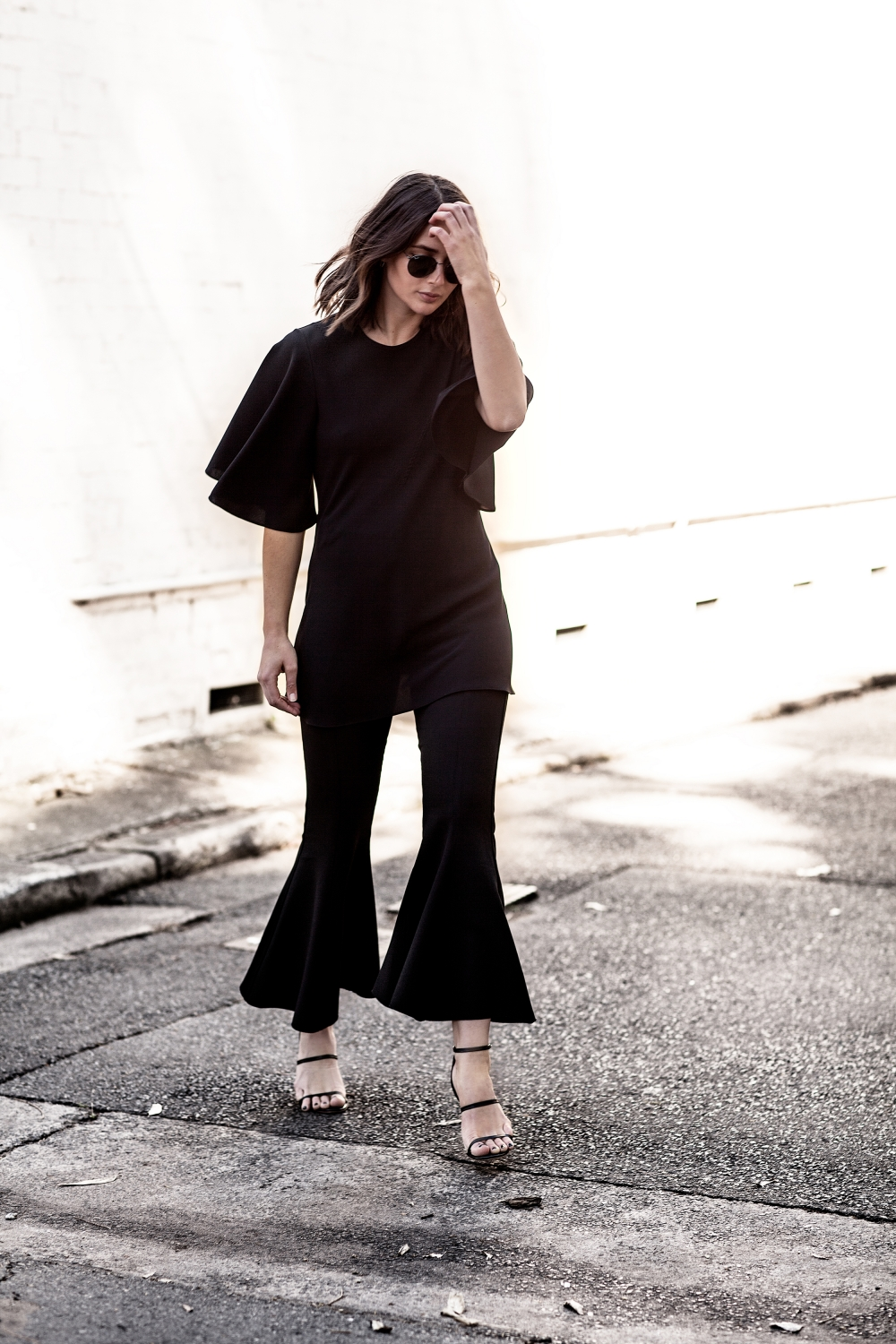 Georgia Alice Black Cropped Flares | Ellery Black Top | Street Style | Outfit | All Black | Harper and Harley