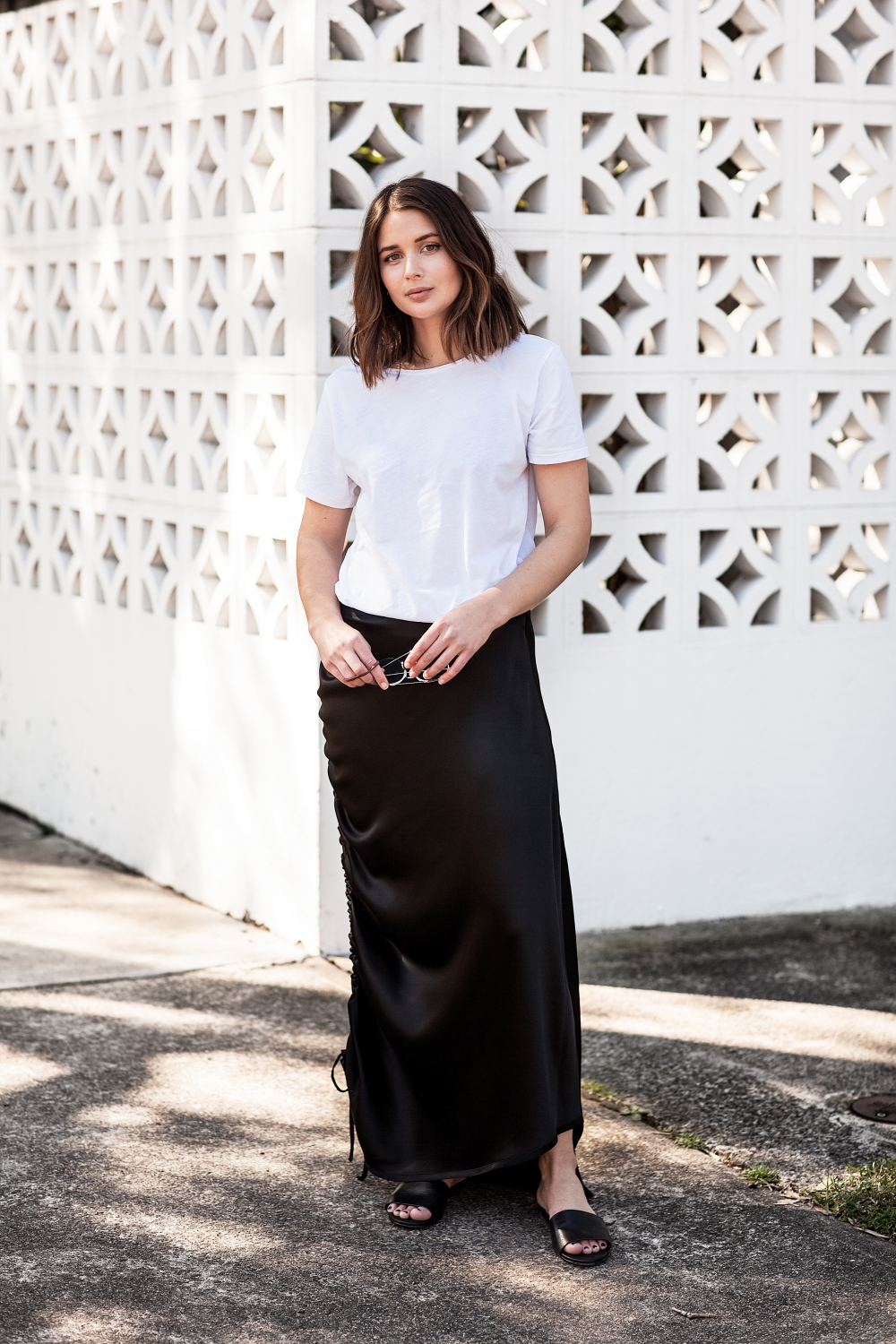 Georgia Alice Rouched Water Skirt and white t-shirt | Streetstyle | Outfit | HarperandHarley