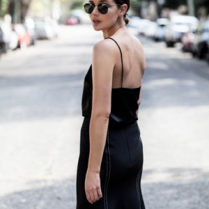 Black midi skirt and cami top | Outfit | Street Style | HarperandHarley