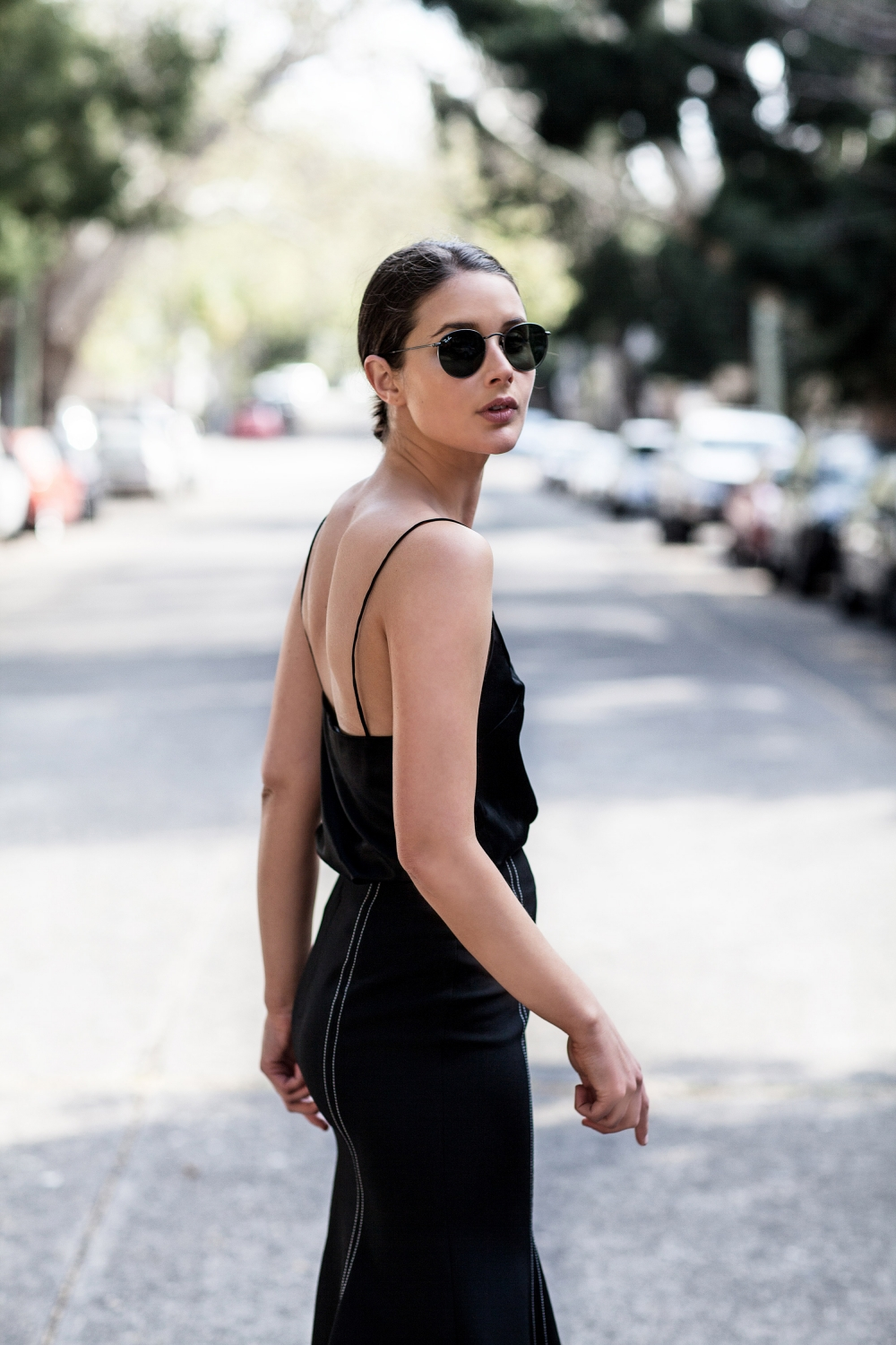 Black midi skirt and cami top   Outfit   Street Style   HarperandHarley
