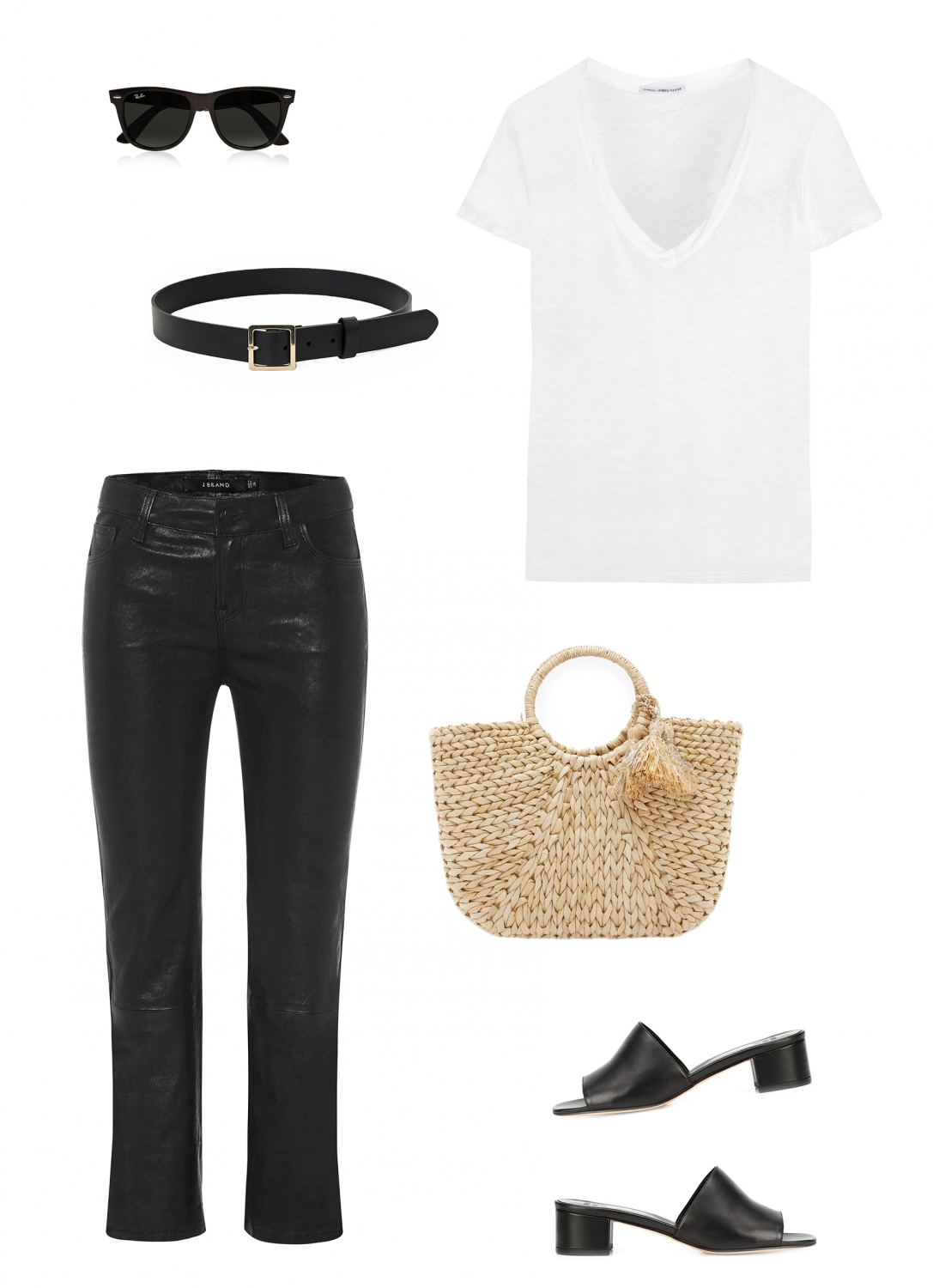 cropped leather pants | straw bag | mules
