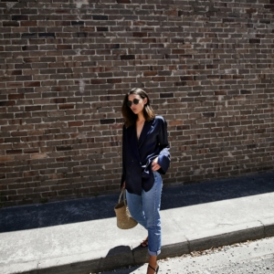 Michael Lo Sord | Navy silk shirt | Denim | style | outfit | HarperandHarley