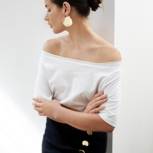 Holly Ryan Wavee Wave earrings | Off The Shoulder Top | Style | Outfit | HarperandHarley
