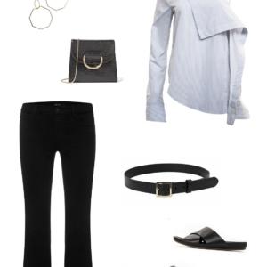 J Brand jeans, Dion Lee shirt, ATP slides