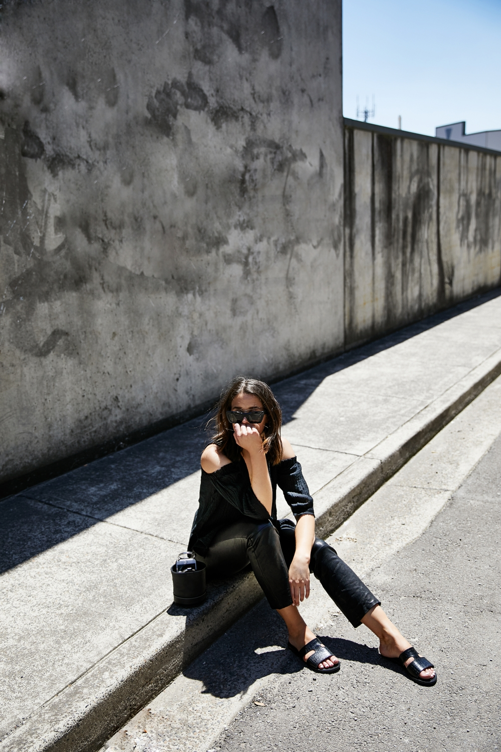 J Brand leather pants | black outfit | style