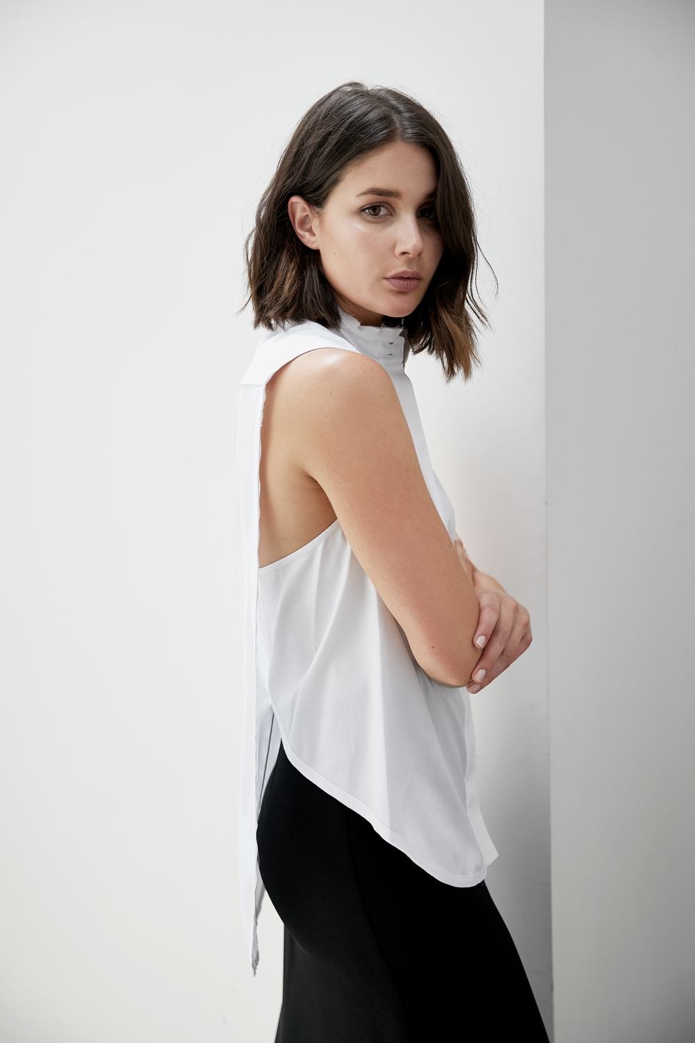 Dion Lee white sleeveless shirt | Black skirt | Style | Outfit | HarperandHarley