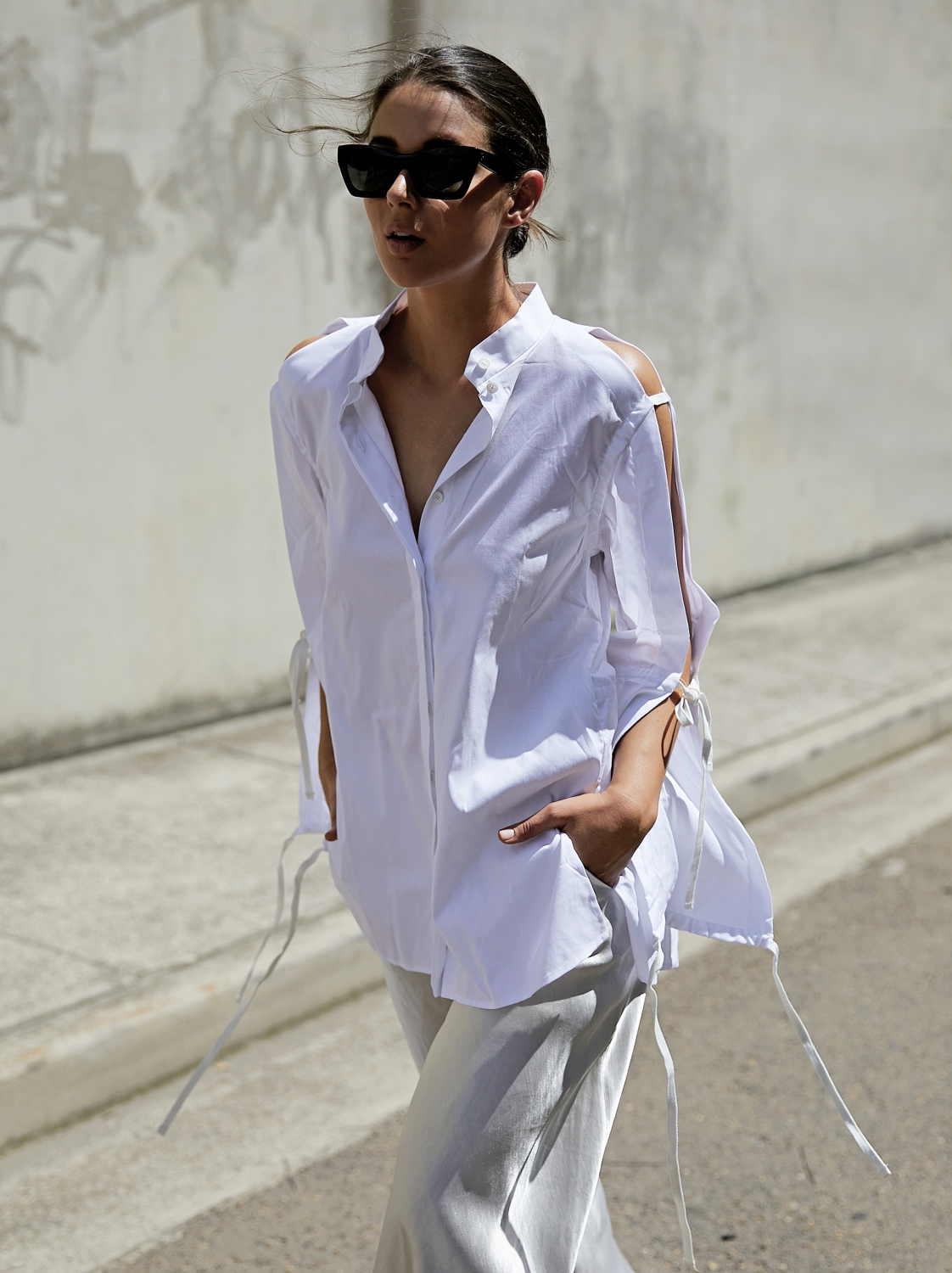 Dion Lee tie up white shirt | style | outfit | TheUNDONE