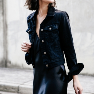 Black denim jacket | Balck slip dress | silk | Style | Outfit | HarperandHarley