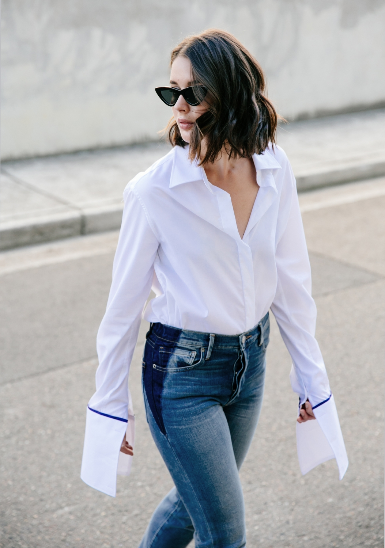 Anna Quan | White Shirt | Frame Denim Jeans | Style | Outfit | HarperandHarley