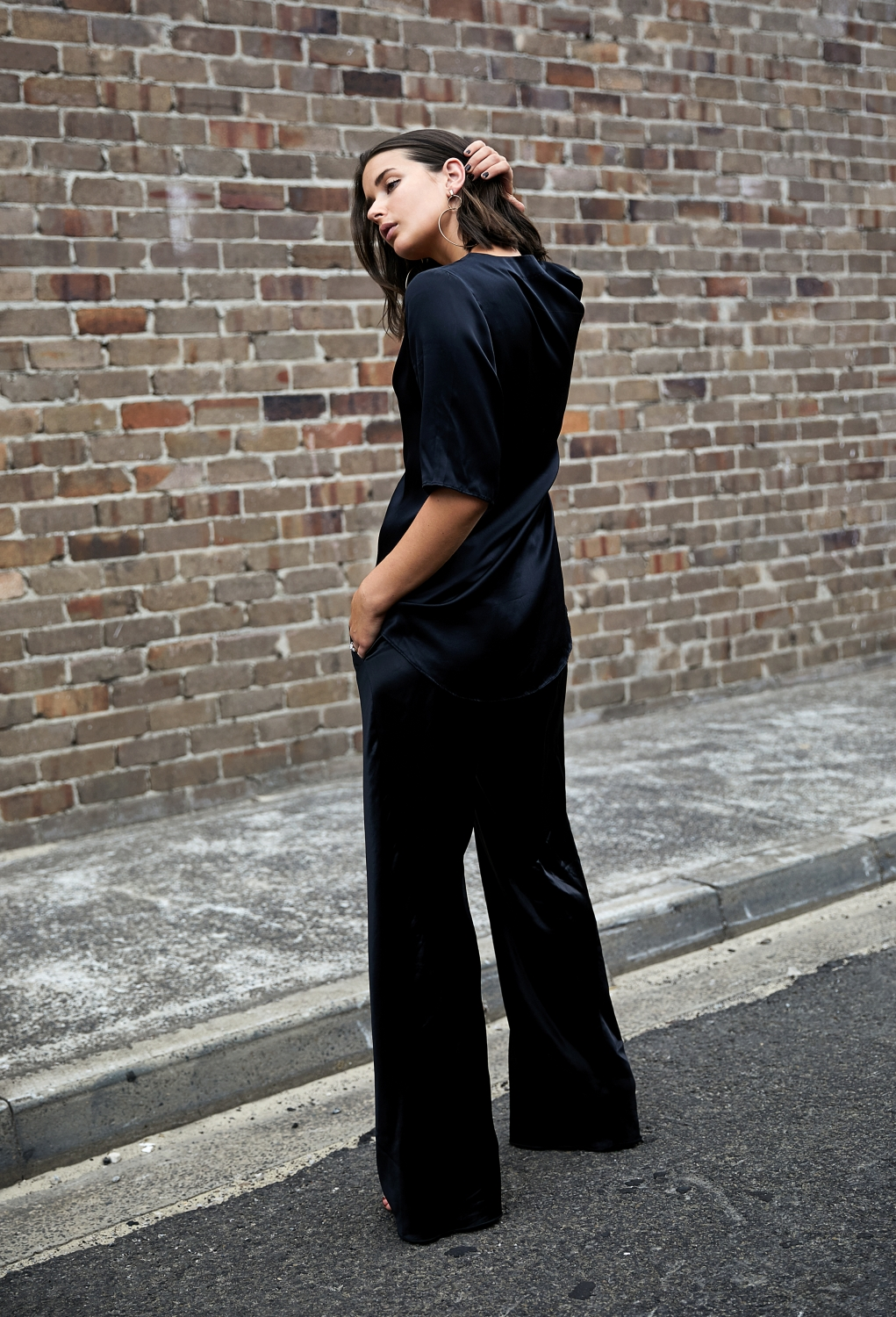 Silk top and pants | black | outfit | style |HarperandHarley