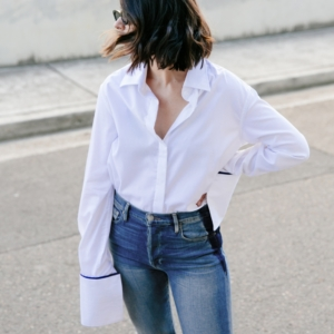 Anna Quan | White Shirt | Frame Denim Jeans | Style | Outfit | HarperandHarley