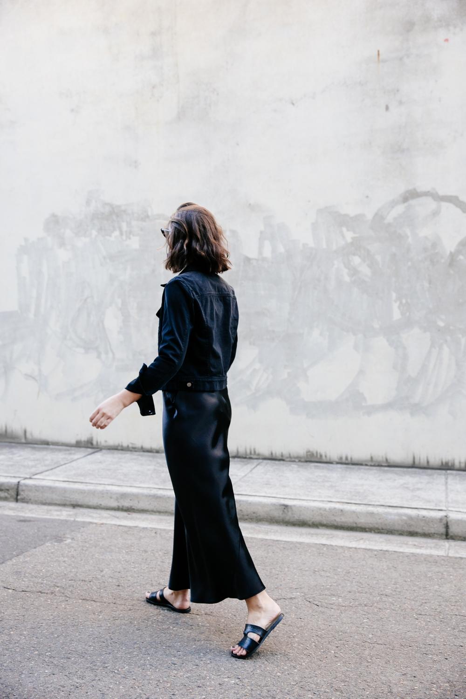 Black denim jacket | Balck slip dress | silk | Style | Outfit | HarperandHarley