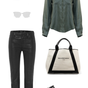 Matin khaki shirt | leather pants | shopping | Black outfit | HarperandHarley