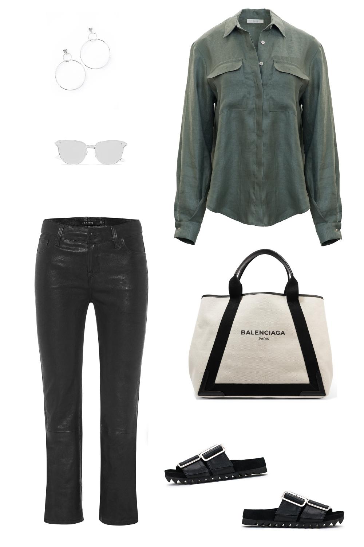 Matin khaki shirt | leather pants | shopping | Black outfit | HarperandHarley