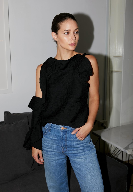 Rachel Comey Black Ruffle Spark Top | Black and Denim | Style | Outfit | HarperandHarley