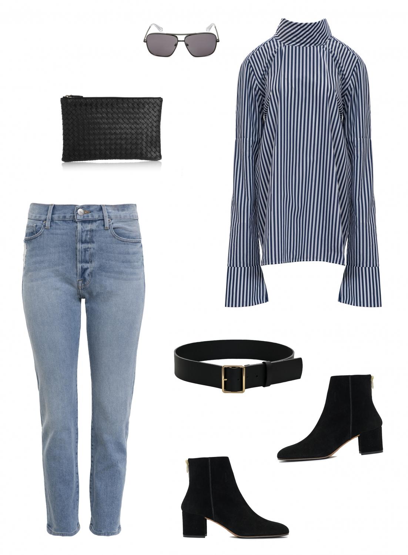 stripe shirt | blue jeans | black suede boots | HarperandHarley