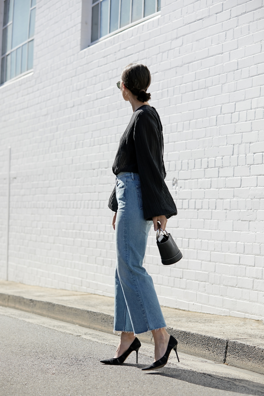cropped wide leg jeans | street style | black and denim | outfit | HarperandHarley
