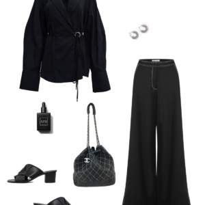 Michael Lo Sordo Shirt | Anna Quan wide leg pants | CHANEL bucket bag |HarperandHarley outfit collage