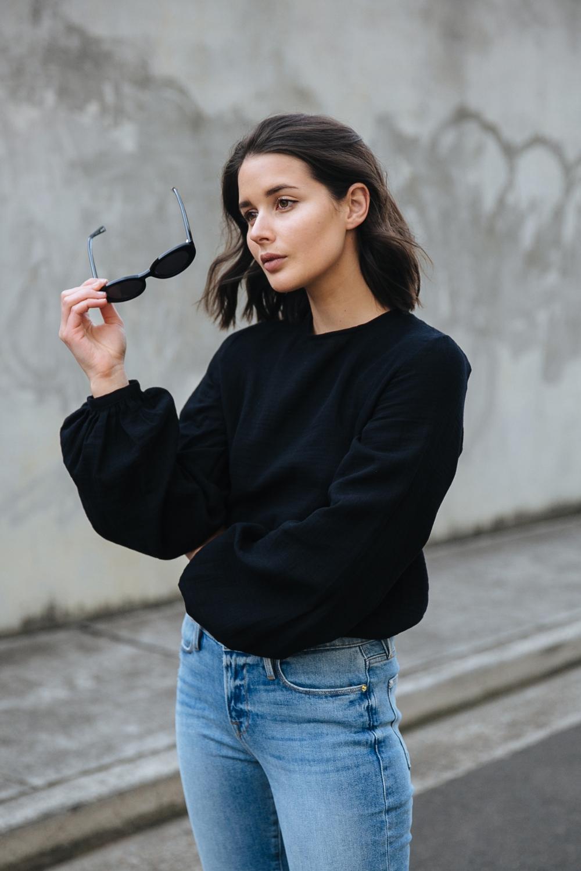 Black top and blue denim   street style   outfit   Australian Fashion Blogger   HarperandHarley