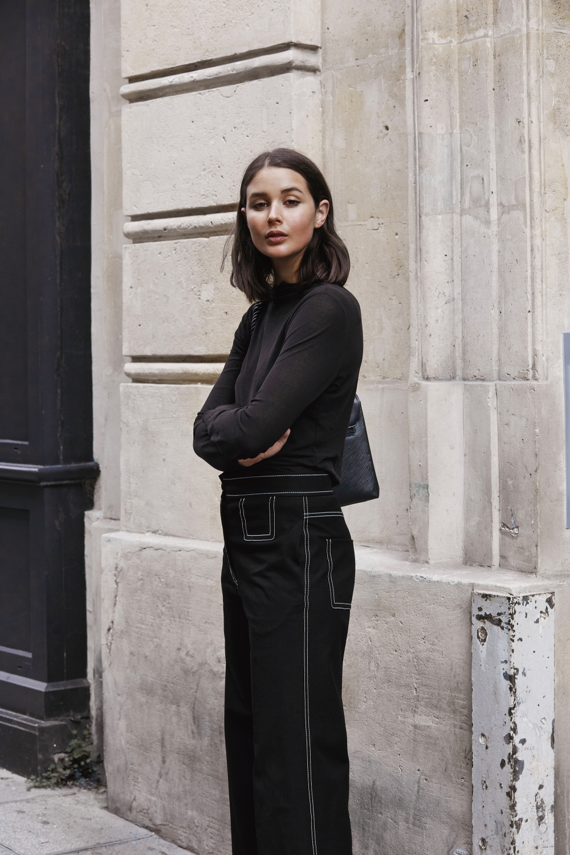 Louis Vuitton Black LV bag   All black outfits   Paris   Street Style   HarperandHarley