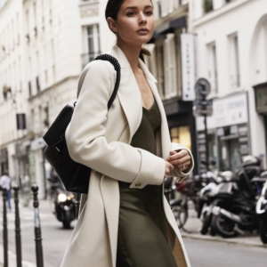 neutrals in paris | khaki slip dress | paris georgia basics | Joseph | Louis Vuitton | Street Style | HarperandHarley