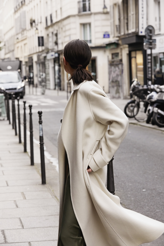 neutrals in paris    khaki slip dress   paris georgia basics   Joseph   Street Style   HarperandHarley