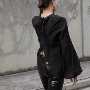 Black Patent Pants | All Black Outfit | Street Style | HarperandHarley